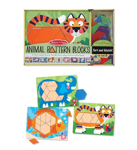 Melissa & Doug Animal Pattern Blocks Set With 5 Double-Sided Wooden Boards and 47 Multi-Shaped (Animal Pattern)