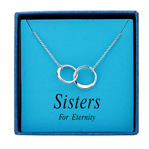 Augonfever Sisters for Eternity Necklace Silver 2 Round Circle Link Gift Necklace for Sister Best Friends