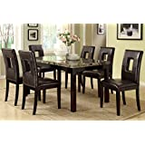 Poundex F2093 & F1051 Faux Marble Top W/ Brown Leatherette Chairs Dining Set