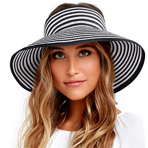 Sun Visor Hats for Women Wide Brim Straw Roll Up Ponytail Summer Beach Hat UV UPF Packable Foldable Travel FURTALK(One Size,21.6''-23.6 Black White Stripes)