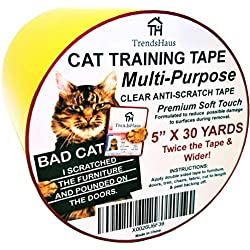 "TrendsHaus Cat Anti-Scratch Training Tape Clear 5"" X30 Yards Extra Wide Multi-Purpose Soft Touch Furniture Safe Formula, Anti-Door-Paw-Pounding Training Tape"