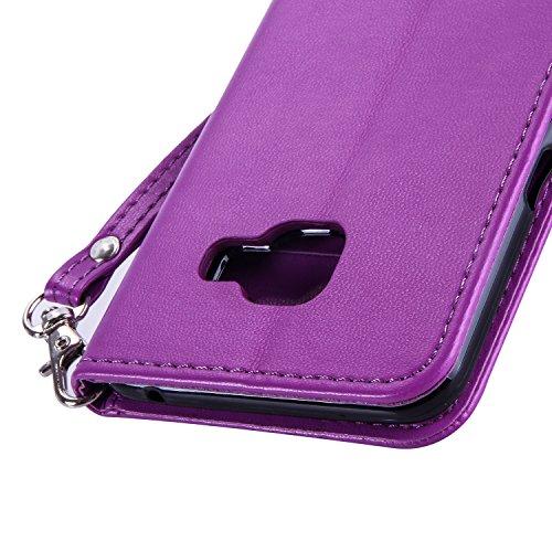 JIALUN-Personality teléfono shell Caja de cuero dorado de la cubierta de la caja de la mariposa de las flores de color sólido Funda de cuero de la PU Caso de la cubierta de la cartera de silicona para Purple