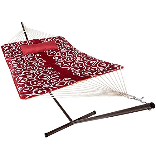 Lazy Daze Hammocks 12 Feet Steel Hammock Stand with Cotton Rope Hammock Combo, Quilted Polyester Hammock Pad and Pillow,Red Citrus (Hammock Large Fabric Quilted)