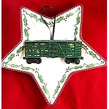 Lionel Train Ornament, Handcrafted Wood Wells Fargo Engine Set O Gauge, Christmas Husband Gift, Kids' Ornament, Toy Train 1950s Decor