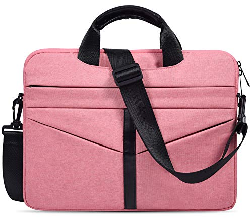(imComor 15.6 Inch Laptop Sleeve Shoulder Bag Waterproof Briefcase Handbag Case Cover for Acer Aspire/Predator, Toshiba, Dell Inspiron, ASUS P-Series, HP Pavilion, Lenovo, MSI GL62M Carrying Bag, Pink)