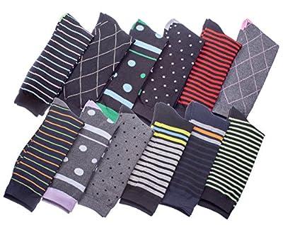 Men's Pattern Dress Socks Cotton Blend Colorful Designes Size 10-13 (12 Pair)
