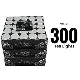 300 Tea Light Set - White Candles - Unscented Tealights (300 Pieces)