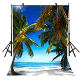 VVM Sea View Backdrop Tropical Beach Palm Tree Photo Booth YouTube Backdrop Summer Party Accessory 5x7Ft TMVV076