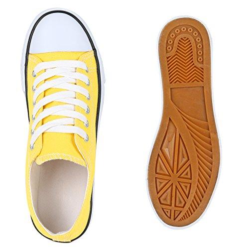 Stiefelparadies Damen Sneakers Glitzer Blumen Sneaker Low Stoffschuhe Denim Animal Prints Canvas Schuhe Übergrößen Flandell Gelb