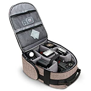 Portable Camera Backpack for DSLR / SLR (Brown) by USA Gear with Customizable Accessory Dividers, Weather Resistant Bottom, Comfortable Back Support for Canon EOS T5 / T6 - Nikon D3300 / D3400 & More