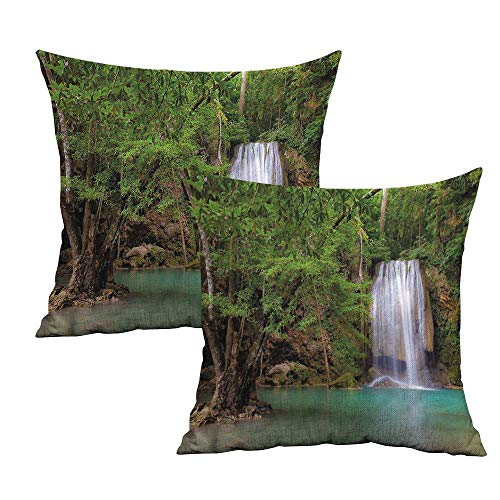 """Khaki home Waterfall Square Throw Pillow Covers River Forest in Thailand Square Slip Pillowcase Cushion Cases Pillowcases for Sofa Bedroom Car W 24"""" x L 24"""" 2 pcs"""