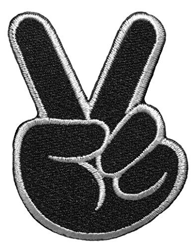 Papapatch Two Fingers Peace Victory Sign Embroidered Sewing Iron on Patch - Black ()
