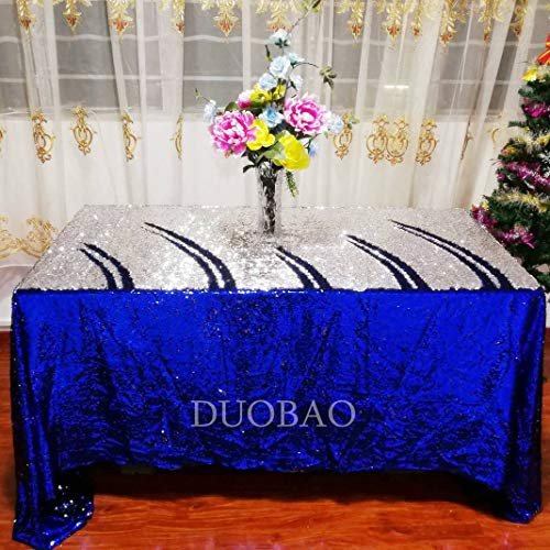 Sequin Tablecloth Reversible 90x90-Inch Rectangle Royal Blue to Silver Party Tablecloth Mermaid Sequence Tablecloth Cake Stand Double Sided Sequin Table Linen for Christmas/Wedding/Party