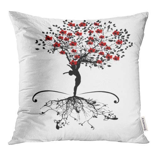 LUZHOU Decorative Throw Pillow Covers Red Woman Spring Tree Women Silhouette Root Willow Black Pillowcase Cushion Cover Case Protectors Sofa 18x18 Inches Double Sided