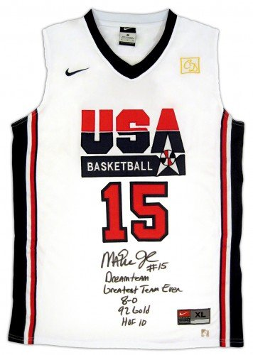 Basketball Team Signed (Magic Johnson Signed Official NBA Nike White USA Basketball 5 Stat Jersey