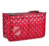 Vercord Updated Purse Handbag Organizer Insert Liner Bag in Bag 13 Pockets Red Dot Medium