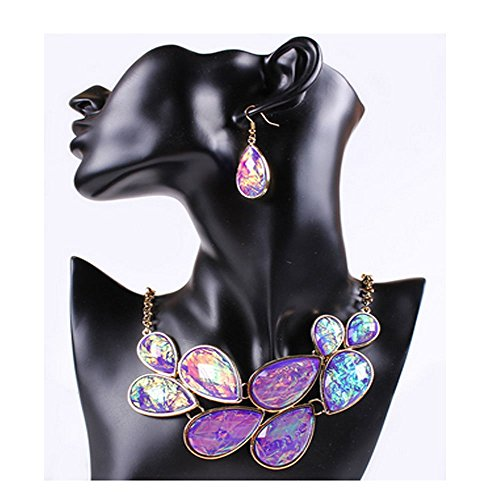 Darkey Wang Woman Colorful Fashion Jewelry Exaggerated Teardrop-Shaped Necklace Earring Sets(Purple)