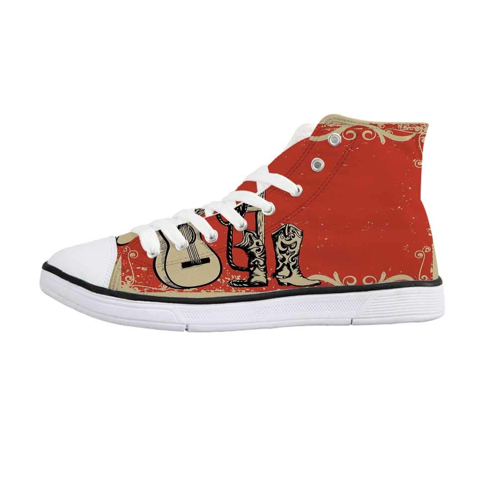 Western Comfortable High Top Canvas ShoesImage of Wild West Elements with Country Music Guitar and Cowboy Boots Retro Art Decorative for Women Girls,US 11 by YOLIYANA