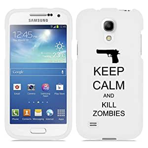 Samsung Galaxy S4 S IV Snap On 2 Piece Rubber Hard Case Cover Keep Calm and Kill Zombies (White)