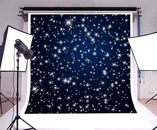 Laeacco Starry Night Sky 8x8ft Photography Background Stars Abstract Backdrop Night Sky Stars Starry Shiny Twinkles Dark Blue Background Children Baby Kids Girls Photos
