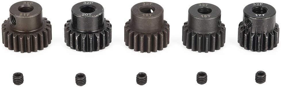 Candybarbar Surpass Hobby 5Pcs 32DP 5mm 17T 18T 19T 20T 21T Metal Piñón Motor Gear Set para 1/8 RC Car Truck Motor sin escobillas Cepillado