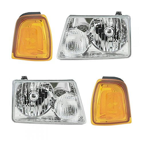2001 Ford Ranger Headlight - Headlights & Parking Corner Lights Left & Right Kit Set for 01-05 Ford Ranger