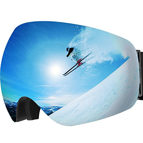 OMorc Ski Goggles Anti-Fog 100% UV400 Protection OTG Snowboard