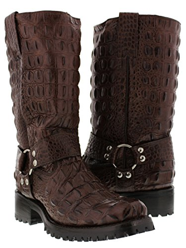 El Presidente - Men's Brown Full Crocodile Design Leather Motorcycle Biker Boots 13 2E -