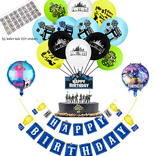 Video Game Party Supplies - 12 Latex Party Balloons and 2 Foil Balloons,32 DIY Bullet Hole Stickers, Video Game birthday Banner and Birthday Cake Topper for Kids Battle Royale Gamer Decorations