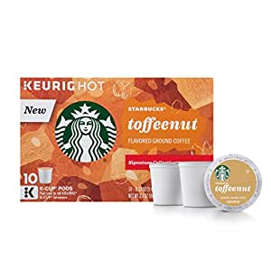 Starbucks Toffeenut Flavored Medium Roast Single Serve Coffee for Keurig Brewers, 6 Boxes of 10 (60 Total K-Cup pods)