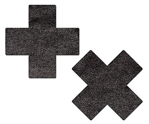 (iHeartRaves Metallic Black Cross Rave Pasties (Set of 2 Pasties))