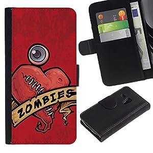 All Phone Most Case / Oferta Especial Cáscara Funda de cuero Monedero Cubierta de proteccion Caso / Wallet Case for Samsung Galaxy S3 MINI 8190 // Zombie Heart Love