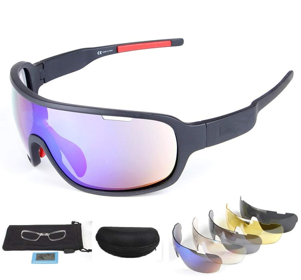 Rungear Polarized Sports Sunglasses UV400 with 5 Interchangeable Lenes for Men Women Cycling Running Driving Fishing Golf Baseball Glasses (Black)