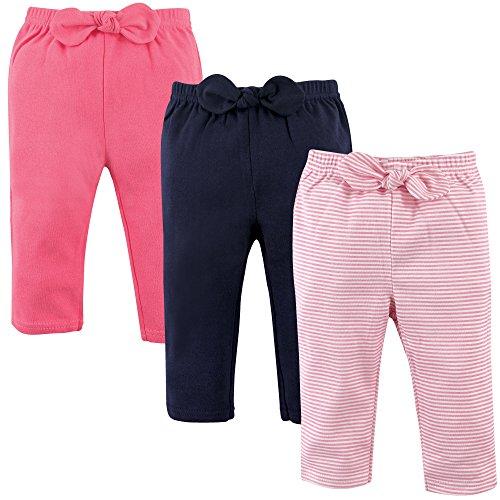 Capri Stripe Pink Pant - Hudson Baby Baby Cotton Pants, 3 Pack, Light Pink Stripes, 9-12 Months (12M)