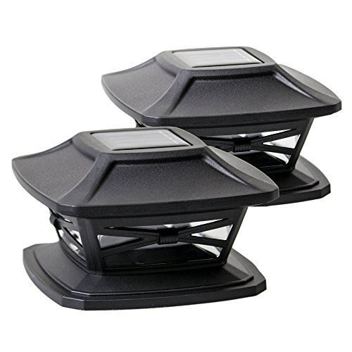 Square Base Scale Bench (Davinci Solar Post Lights - Outdoor Post Cap Light for Fence Deck or Patio - Solar Powered Caps, Warm White LED Lighting, Lamp Fits 4x4 or 6x6 Posts, Slate Black (2 pack))