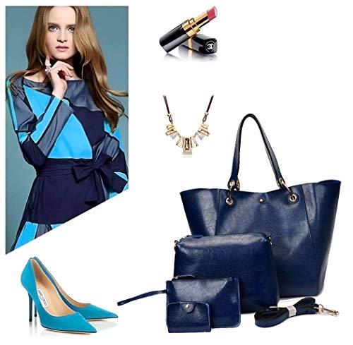 Conjunto Superior Azul Para Mujeres Eeayyygch De 3pcs color Marrón Bolsos Sintética Hombro Cruzados Piel Asa qUwzPgxZ