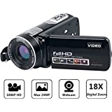 Camcorder Full HD Digital Camera Portable Mini Handheld Camcorder Digital Video Camera Camcorders With IR Night Vision 24.0 Mega pixels DV 3' LCD Screen 18X Digital Zoom