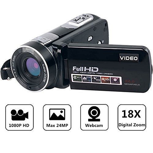 Camcorder Full HD Digital Camera Portable Mini Handheld Camcorder Digital Video Camera Camcorders With IR Night Vision 24.0 Mega pixels DV 3'' LCD Screen 18X Digital Zoom by Gongpon