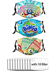 Tuyimm 3Pcs Colorful Illustration of Bingo Cards and Balls On Blue Sun Rays Retro Style,Fashion Comfortable Windproof Mask,Printed Facial Decorations for Men and Women with 10 Filters