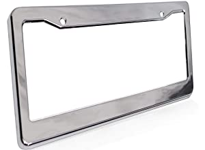 Motorup America Auto License Plate Frame Cover - Fits Select Vehicles Car Truck Van SUV - Chrome
