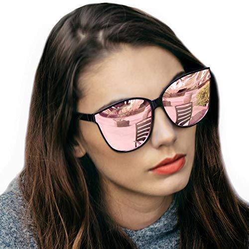 LVIOE Cat Eyes Sunglasses for Women, Polarized Oversized Fashion Vintage Eyewear for Driving Fishing - 100% UV Protection (Black Frame/Rose Gold Lens Cat Eyes Oversized, Rose Gold ()