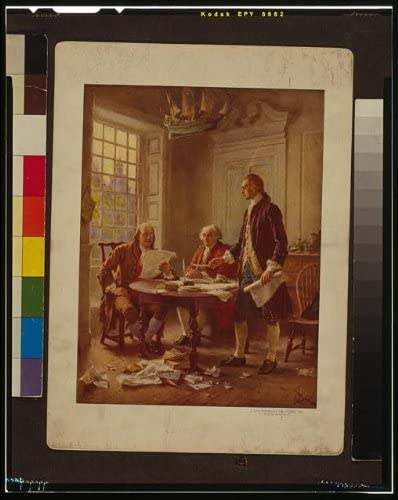 Franklin Adams Jefferson Writing Declaration of Independence painting repro art