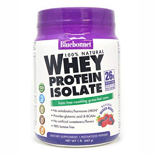 Bluebonnet Nutrition Whey Protein Isolate Powder, Mixed Berry Flavor, 1 Pound (Whey Berry)