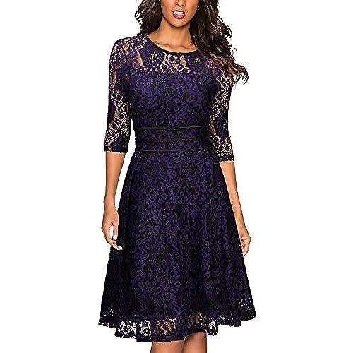 Miusol Womens Vintage Floral Lace Cocktail Evening Party DressBlack And PurpleLarge