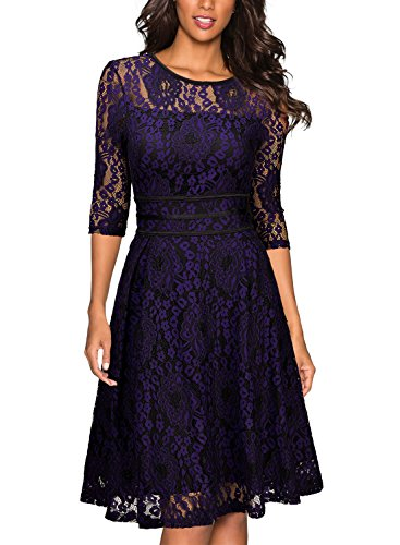 Miusol Women's Vintage Floral Lace Cocktail Evening Party Dress,Black and Purple,Large