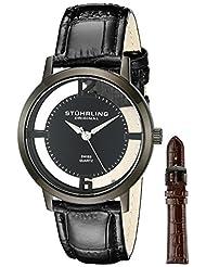 Stuhrling Original Men's 388G2.SET.04 Classic Winchester Cathedral Swiss Quartz Black Leather Additional Strap Watch Set