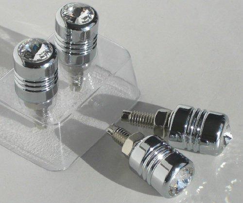 Swarovski Crystal License Plate Frames (CPW(TM) 4 Chrome Billet & Clear Swarovski Crystal License Plate Frame Screws Tag Bolts)
