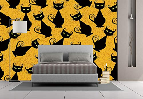 Large Wall Mural Sticker [ Vintage Decor,Black Cat Pattern on Orange Background Halloween Witch Pet Graphic Decorative,Black Orange ] Self-adhesive Vinyl Wallpaper / Removable Modern Decorating Wall A for $<!--$238.99-->