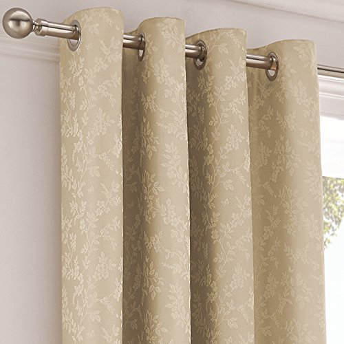 Serene Ebony Floral Trail Jacquard Lined Eyelet Curtains, Natural, 90 x 72-Inch by Serene