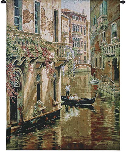 (Afternoon Chat by Sung Kim | Woven Tapestry Wall Art Hanging | Venetian Canal Gondola Ride | 100% Cotton USA Size 48x36)